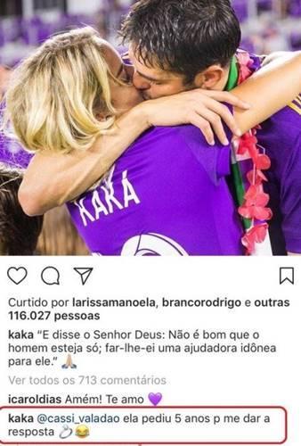 Kaká pede Carol Dias em casamento e é surpreendido com resposta inusitada