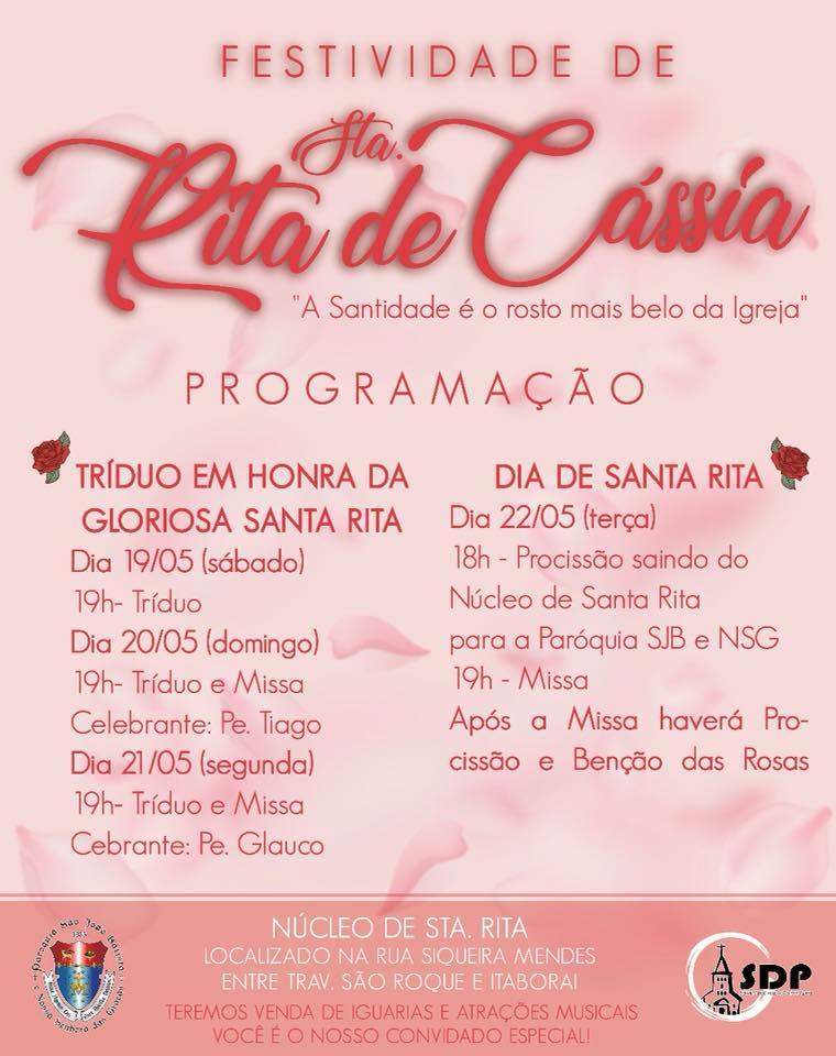 Tríduo à Santa Rita de Cassia