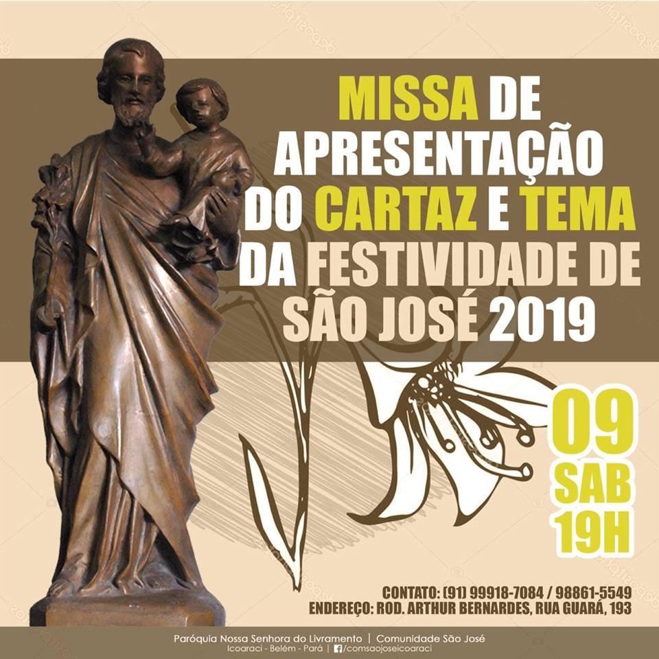 Tema e cartaz da Festividade de São José serão apresentados neste sábado