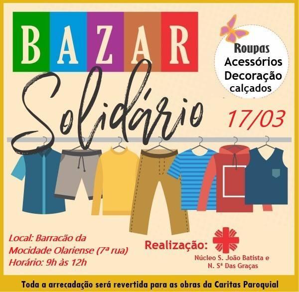 Domingo tem bazar solidário, quem vai?
