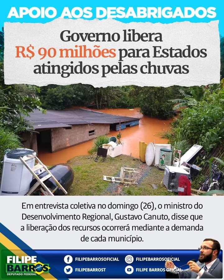 Governo libera R$ 90 milhões para Estados atingidos pelas chuvas