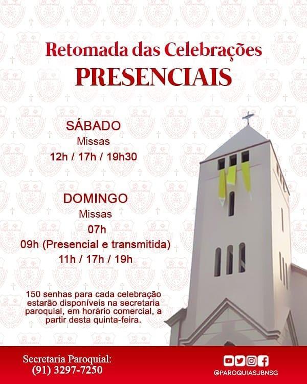Retomada das santas missas na Igreja Matriz