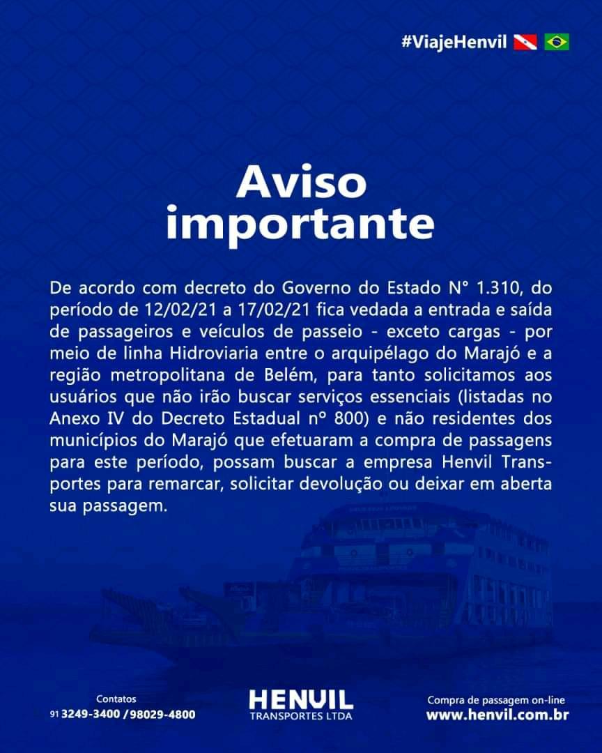 Decreto proíbe viagens entre Marajó e Belém